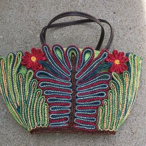 Bright colorful straw handbag